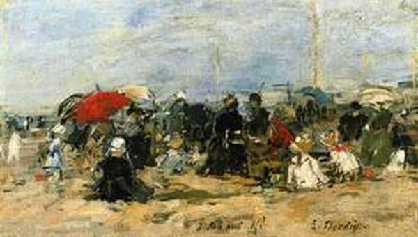 Trouville Beach Scene 1883 1887